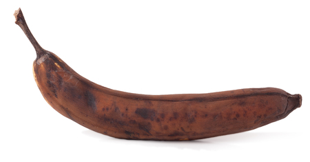 putrefy: Rotten banana isolated on white background. Stock Photo