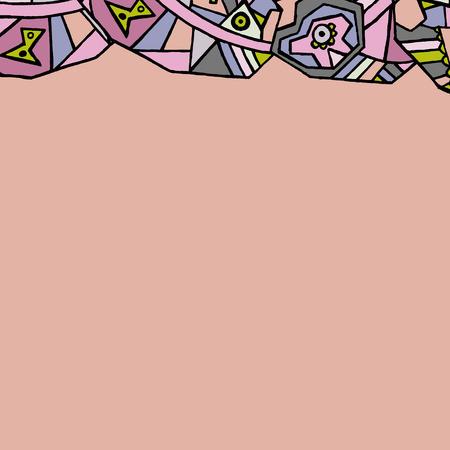 side border: Side border geometric pattern hand drawn. Illustration