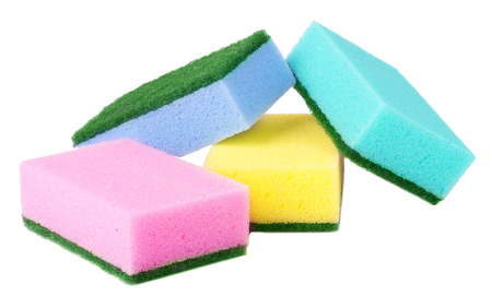finery: colorful sponges for washing dishes on a white background. Stock Photo