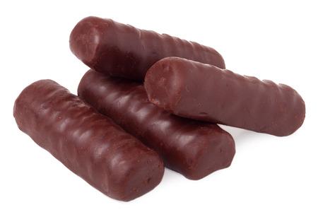 unpacked: chocolate bars on white background. Stock Photo