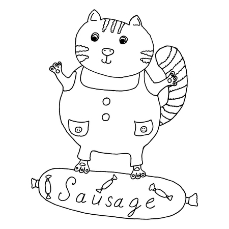 hairy legs: Cat hand drawn on sausage vector illustration