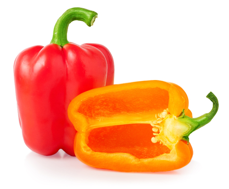 bell peper: bell peppers with half isolated on white.