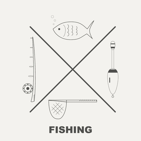 fishing gear: Collection of different fishing gear made in line style vector Illustration