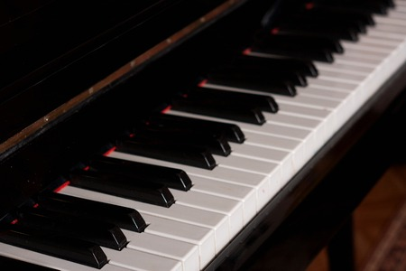 side keys: Piano keys side view with shallow depth of field.