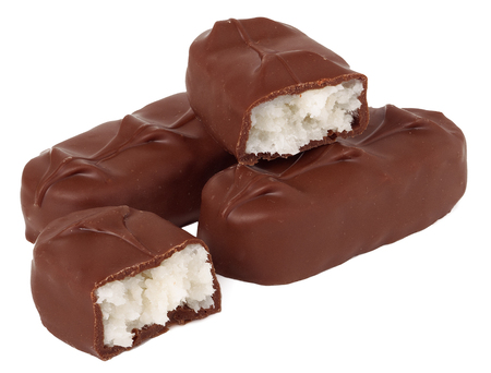 unpacked: chocolate bars on a white background.