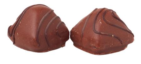 half stuff: variations of chocolated sweet pralines. Stock Photo
