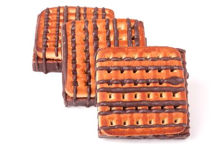 whitebackground: zephyr cookie with chocolate on whitebackground.