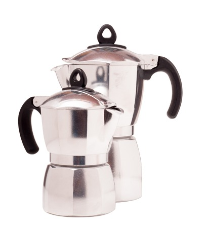 'no people': Classic coffee maker on white background.