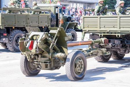 rehearse: LUGANSK ,UKRAINE - MAY 9, 2016: military parade May 9 in Lugansk (LNR). Editorial