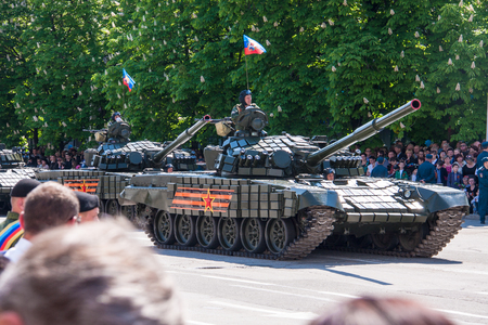 rehearse: LUGANSK ,UKRAINE - MAY 9, 2016: military parade May 9 in Lugansk (LNR). Editorial