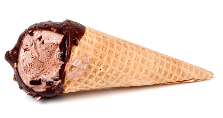 magnum: ice cream cone bitten off isolated on white background.