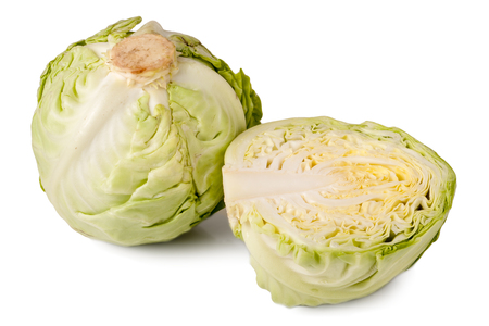 savoy cabbage: the whole cabbage and half isolated on white background. Stock Photo