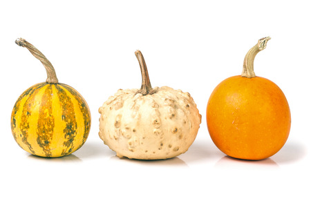 three decorative pumpkins isolated on white background.