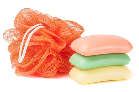 sponge shower and soap isolated on white background. Stock Photo