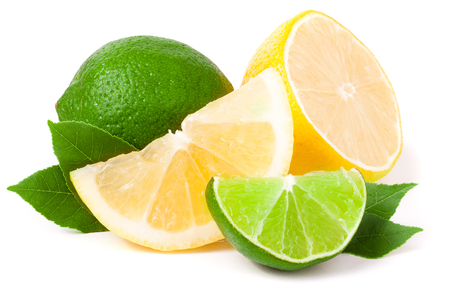 lime and lemon with leaves isolated on white background.