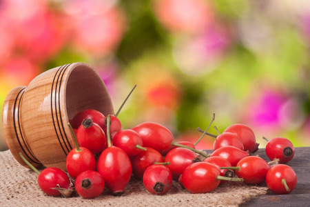 briar: wooden bowl with wild rose on a wooden table with sacking and a blurred background. Stock Photo