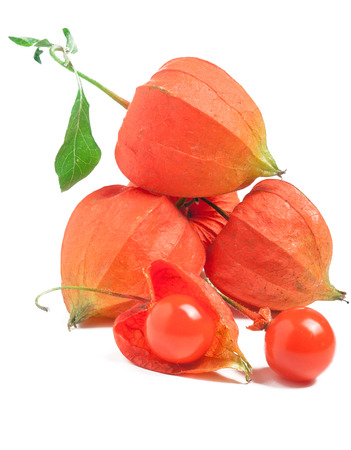 heap or bunch of Physalis isolated on a white background. Stock Photo