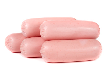 wienie: Five sausages isolated on white background closeup. Stock Photo