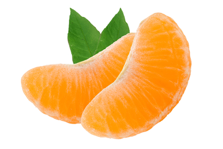 Two slices of tangerine with leaves isolated on white background Stock Photo