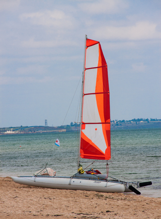 Boat sailing on the sea shore in the background
