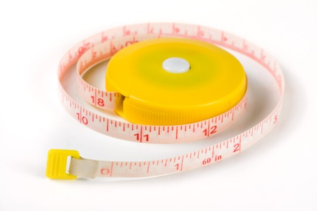 tailors meter or automatic tape measure isolated on a white background