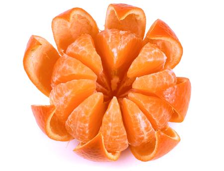 one peeled tangerine isolated on white background. Stock Photo