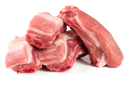 pieces of pork isolated on white background