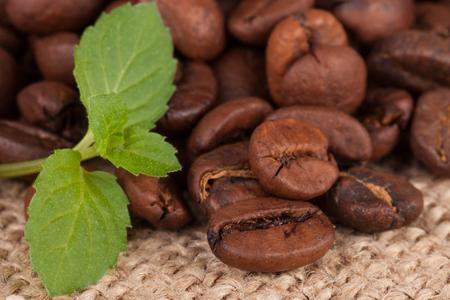 coffee beans on sackcloth close-up macro