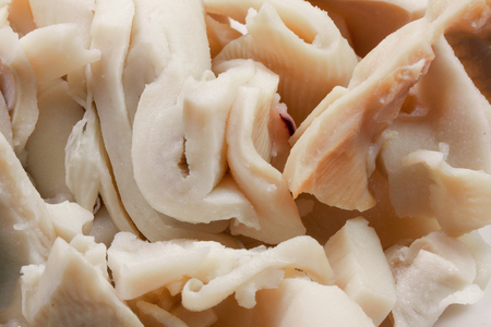 canned sliced squid as a background close-up Stock Photo