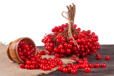 ripe red viburnum berries in a wooden bowl on the table isolated on white background. Stock Photo