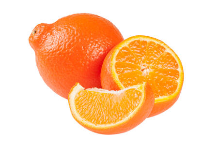 two orange tangerine or Mineola with slices isolated on white background