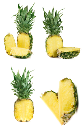 Pineapple isolated on white background. Set or collection Stock Photo