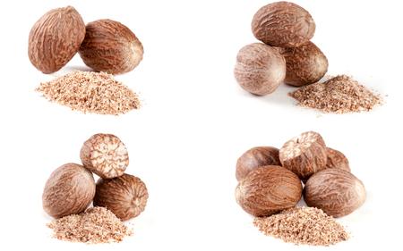 four nutmeg and powder isolated on white background.