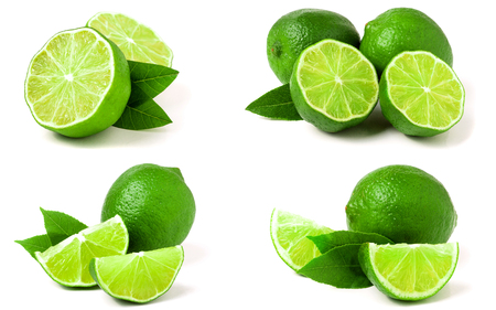Lime with leaf isolated on white background. Set or collection Stock Photo