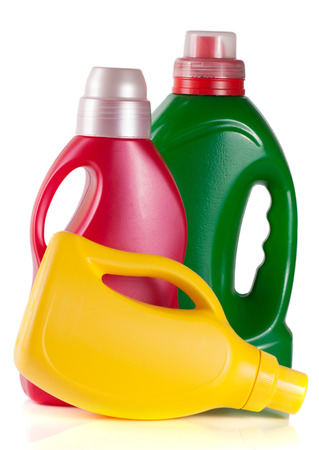 laundry detergent bottle with fabric softener isolated on white background