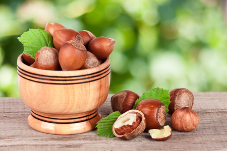 albero nocciolo: Hazelnuts with leaves in a wooden bowl on a wooden table with blurred garden background.
