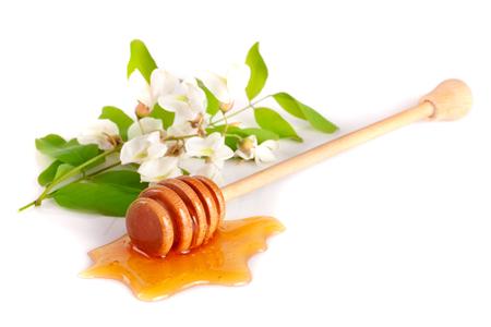 Honingsstok met stromende die honing en bloemen van acacia op witte achtergrond wordt geïsoleerd