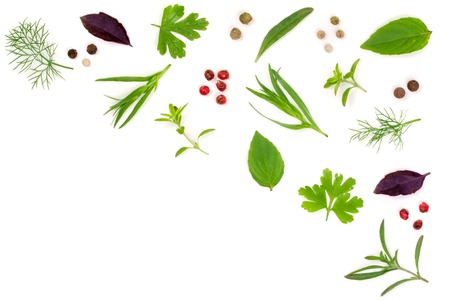 Fresh spices and herbs isolated on white background. Dill parsley basil thyme tartun peppercorns. Top view