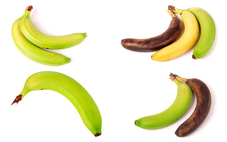 Immature, mature and overripe bananas on white background. Set or collection