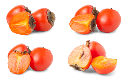 Persimmon isolated on white background. Set or collection