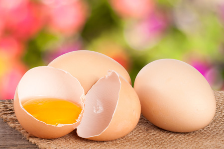 Broken egg with yolk and eggshell On a wooden table with a blurry garden background