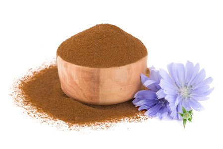 chicory flower and powder of instant chicory isolated on a white background. Cichorium intybus.