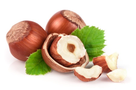 Hazelnuts with leaves isolated on white background