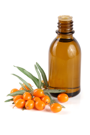 argousier: Sea-buckthorn oil with berries and leaves isolated on white background