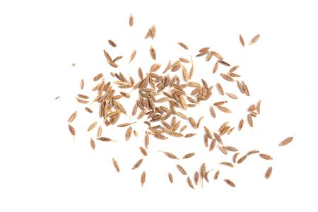 クミンの種子や白い背景で隔離キャラウェイ