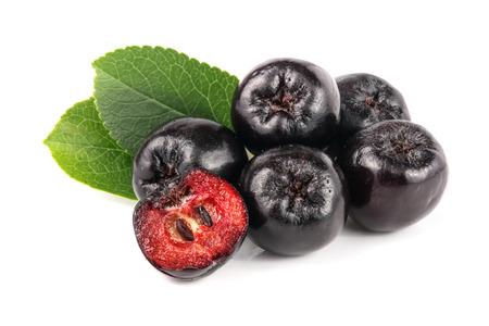 白い背景に孤立した葉を持つ Chokeberry。ブラックアーノニアベリー 写真素材 - 85070680