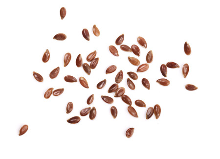 flax seeds isolated on white background. Top view.