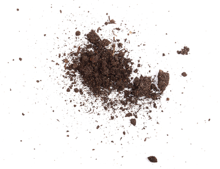 Pile of soil isolated on white background, top view, Reklamní fotografie