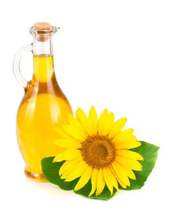 Sunflower oil and flower isolated on white background