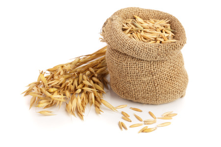 oat spike with grains in bag isolated on white background